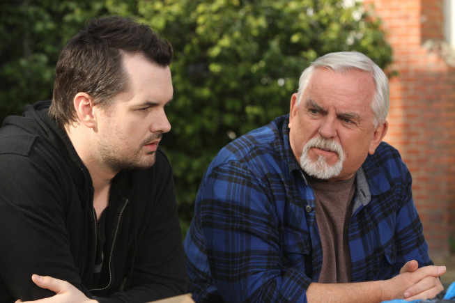 LEGIT -- Episode 8: Hoarders (Airs Thursday, March 7, 10:30 pm e/p) -- Pictured: (L-R) Jim Jefferies as Jim, John Ratzenberger as Walter -- CR: Patrick McElhenney/FX